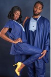 Couple's Blue Traditional Outfit