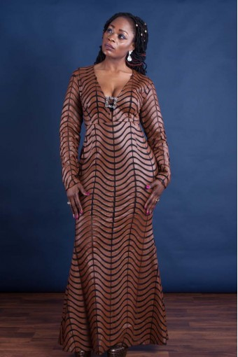 Long Brown Pattern Dress